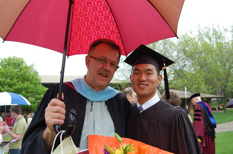 Professor Fondse and moi at my graduation.